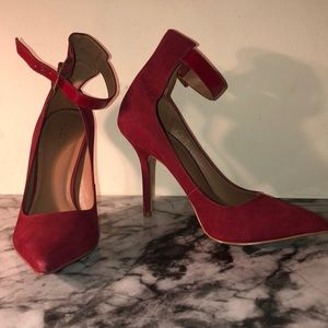 Suede High Ankle Strap Pumps